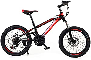 20-inch /24-inch Disc Brake Shock Absorption Variable Speed Male And Young Mountain Bike,Kids Bike With Mechanical Disc Brake Suitable For Various Road Conditions ( Color : Black Red , Size : 24inch )