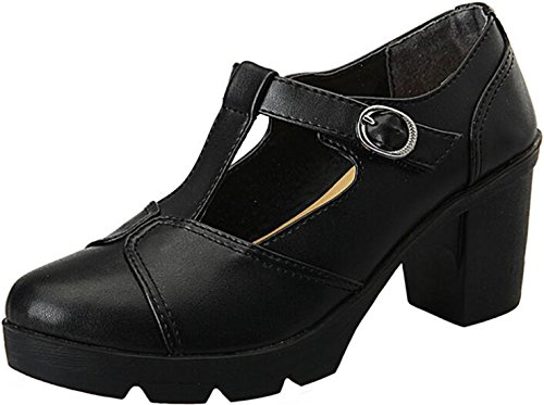 PPXID Women's British Style T-Bar Platform Heeled Oxford Shoes Work Shoes-Black 9 US Size -