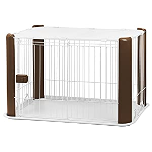 IRIS Small Wire Dog Crate with Mesh Roof, Brown Click on image for further info.