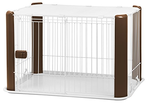 IRIS Small Wire Dog Crate with Mesh Roof, Brown