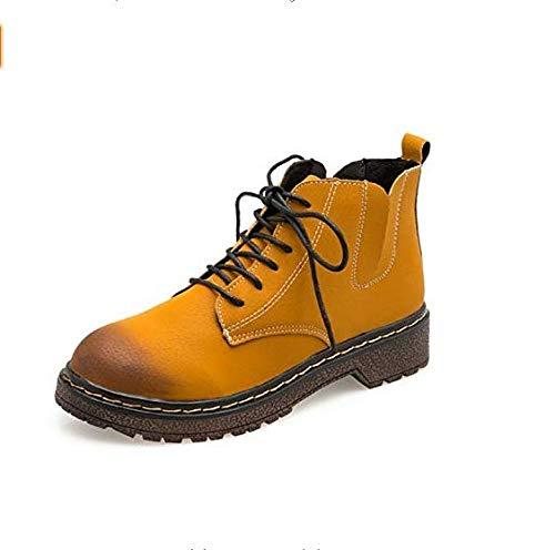 Qiusa High Heels Heels Heels Kurze Stiefel, Martin Stiefel, Studentinnen, weiblicher Flacher Boden (Farbe   Gelb, Größe   35) 9c0d27