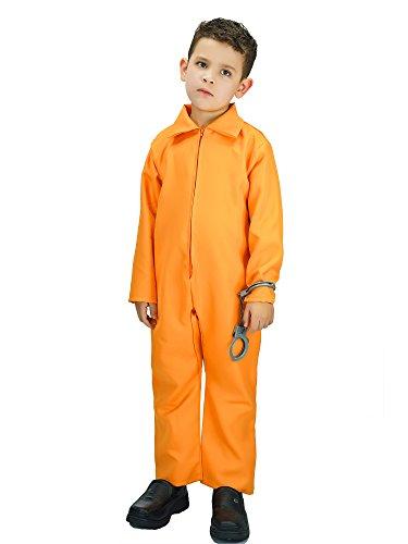 Kid's Escaped Prisoner Costume with Boiler Suit (4-6 Years, Orange) (Girl Prisoner Costume)
