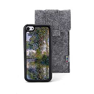 CaseCityLiu - Poplars at the Epte Claude Monet Oil Painting Design Black Bumper Plastic+TPU Case Cover for Apple iPhone 5C Come With FREE Non Woven Packing Bag