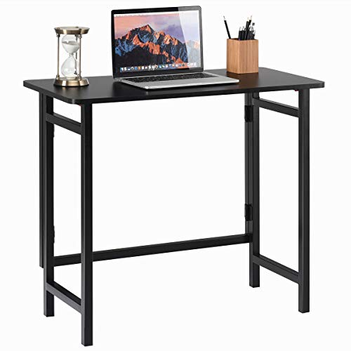 TANGKULA Folding Computer Desk, Simple Metal Frame Computer Desk Modern Home Office Laptop PC Workstation Compact Study Writing Reading Table for Small Space, Folding Table (Black)
