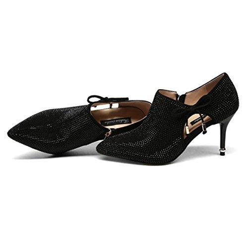 Bow Deep Hauts Mariage Bout Sexy Diamant à Zipper Black Court Chaussures Femmes Dames Chaussures Hauts De Creux Lumineux Talons Talons Patry Pompes Side Pointu Z0SnHvAHwq