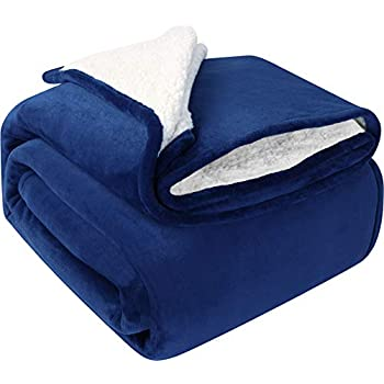 Utopia Bedding Sherpa Bed Blanket Twin Size Navy Plush Throw Blanket Fleece Reversible Blanket for Bed and Couch