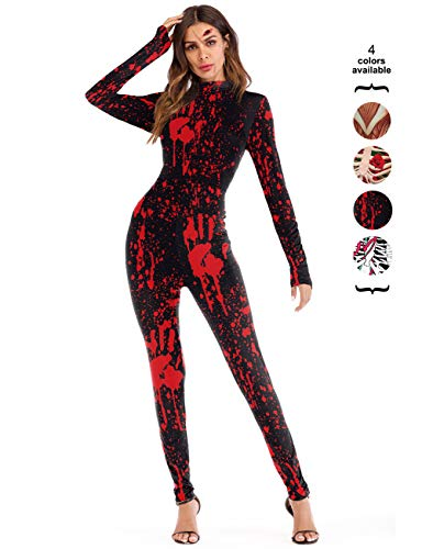 Red Bones Print - Amiliashp Halloween Costume Bodysuit Skeleton Bone 3D Print Long Sleeve Cosplay Jumpsuit Overall Catsuit Unitard Tights Women