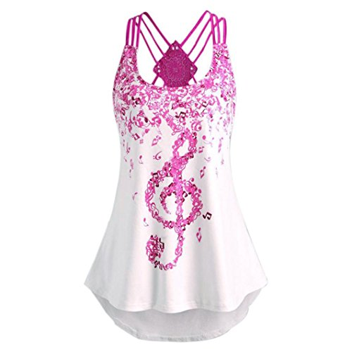 vermers Vest For Ladies' Bandages Sleeveless Top Musical Notes Print Strappy Tank Tops (S, Hot Pink)