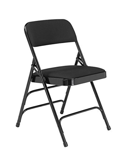 National Public Seating 2310 Fabric Padded Triple Brace Steel Folding Chair, Black (Pack of 4)
