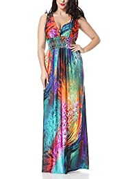 Bewish Womens Summer Casual Colorful Feather Sleeveless V-Neck Maxi Long Dress