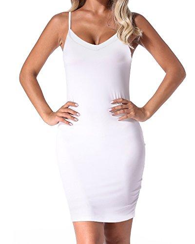 Falda Casual Backless Ajustado blanco Mangas Mujer Auxo Verano Vestido Fiesta Tirantes Sin Delgado 02 RnPwSqg