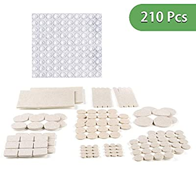 DIFEN Premium ULTRA LARGE Pack Felt Furniture Pads 210 piece! Felt Pads Furniture Feet ALL SIZES – Your Best Wood Floor Protectors. Protect Your Hardwood Flooring