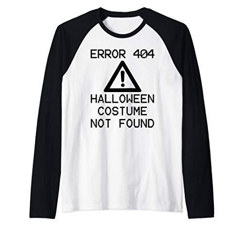 HALLOWEEN COSTUME NOT FOUND Halloween Computer ERROR 404 Raglan Baseball Tee