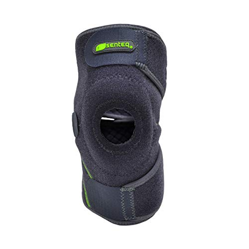 SENTEQ Adjustable Knee Brace - One Size, Medical Grade and FDA Approved. Knee Support with Adjustable Velcro Straps, Open Patella Design with Gel Padding (SQ1 L011)