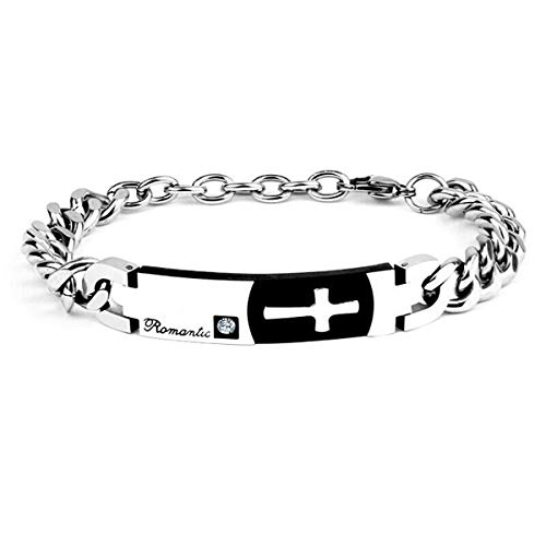 (Elelife Easter Present Stainless Steel Christ Cross Bracelet Bangle for Womens and Mens)