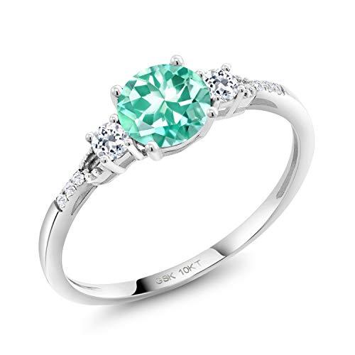 - Gem Stone King 1.02 Ct Round Blue Apatite White Topaz 10K White Gold Lab Grown Diamond Ring (Size 5)