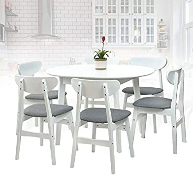 Amazon Com Sk New Interiors Dining Room Set Of 6 Yumiko Chairs And Extendable Round Dining Table Kitchen Modern Solid Wood W Padded Seat White Color With Light Gray Cushion Table