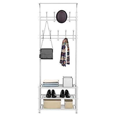 YAHEETECH Fashion Heavy Duty Garment Rack with Shelves 3-Tier Shoes Rack,Coat Rack with Hanger Bar White - High quality: Constructed of powder coated metal tube, antirust and durable, won't be out of shape, strong and sturdy. 18 hooks coat rack: 18 hooks in 4 levels can be used for you and your kids' clothes, bags, hat, purse and handbags in different height and type. 3-tier shoe rack: 3-tier ample metal shelves provided to organize various size shoes , shoe boxes, and storage boxes. 3-tier shoe rack is suitable for keeping your shoes neat and organized. You can also storage your handbags on the top shelf. - hall-trees, entryway-furniture-decor, entryway-laundry-room - 41yeEAr4TEL. SS400  -