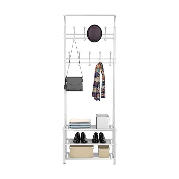 Yaheetech Fashion Heavy Duty Garment Rack with Shelves 3-Tier Shoes Rack,Coat Rack with Hanger Bar White - High quality: Constructed of powder coated metal tube, antirust and durable, won't be out of shape, strong and sturdy. 18 hooks coat rack: 18 hooks in 4 levels can be used for you and your kids' clothes, bags, hat, purse and handbags in different height and type. 3-tier shoe rack: 3-tier ample metal shelves provided to organize various size shoes , shoe boxes, and storage boxes. 3-tier shoe rack is suitable for keeping your shoes neat and organized. You can also storage your handbags on the top shelf. - hall-trees, entryway-furniture-decor, entryway-laundry-room - 41yeEAr4TEL. SS570  -