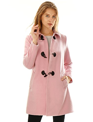 Slant Pocket (Allegra K Women's Turn Down Collar Slant Pockets Longline Toggle Coat M Pink)