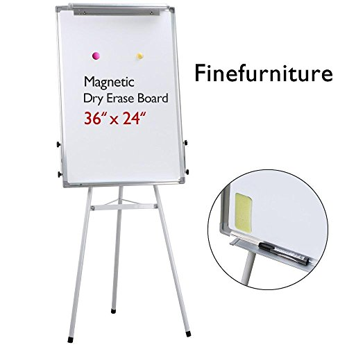 Magnetic Tripod Dry Erase Whiteboard/Easel Whiteboard with Paper Clip and Pen Tray, Height Adjustable, 36'' x 24'' by Finefurniture