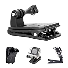 AxPower GoPro 360 Degree Rotating Cap Backpack Hat Quick Clip Clamp Mount for HERO 5 4 3 3+ 2 XiaoYi SJM