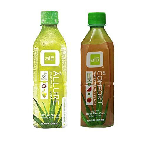 Alo Allure Mangosteen + Mango Drink 16.9 oz with Alo Comfort Aloe Vera Juice Drink, Watermelon Plus Peach, 16.9 Fl. Oz Variety Pack of 2