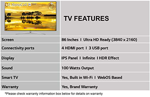 LG 217 cms (86 inches) 4K Ultra HD Smart NanoCell TV 86SM9400PTA   With Built-in Alexa (Rocky Black) (2019 Model)