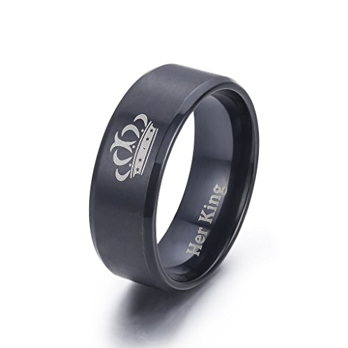 LAVUMO King and Queen Rings for Couples - 2pcs His Hers Stainless Steel Matching Ring Sets for Him and Her - Promise Engagement Wedding Band Black Comfort Fit (Men 11 & Women 7) by LAVUMO (Image #3)