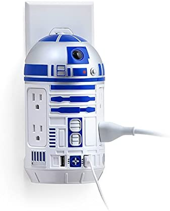 ThinkGeek Star Wars R2-D2 AC USB Power Station – Wall-Mounted, 2 USB Ports, 4 Type B Sockets, Officially-Licensed Star Wars Merchandise