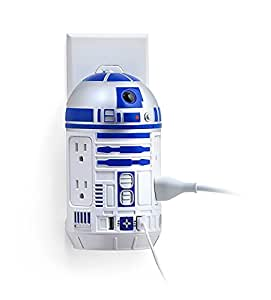 ThinkGeek Star Wars R2-D2 AC/USB Power Station - Wall-Mounted, 2 USB Ports, 4 Type B Sockets, Officially-Licensed Star Wars Merchandise