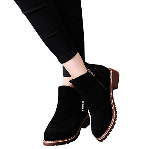 a8bc4ee8e6cc2 Outtop(TM) Women Fashion Short Ankle Booties Lady Winter Leather Martain  Boots Shoes Sneakers (US:6, Black)