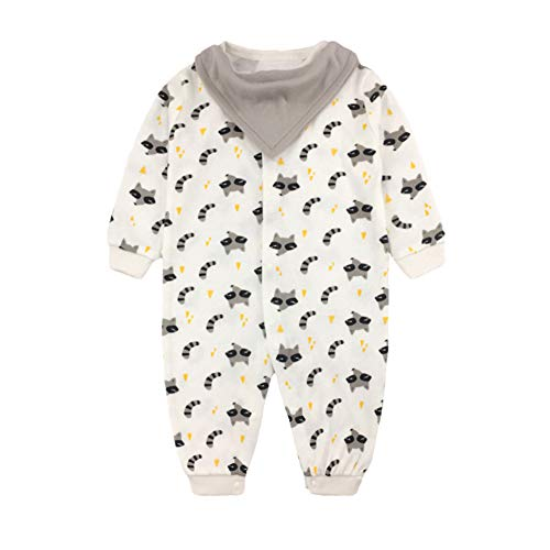 JooNeng Newborn Baby Cotton Romper Onsies with Detachable Bibs Infant Long Sleeve Animal Printed Sleeper Pajamas Clothes,Squirrel ()