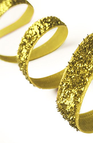 KGS Christmas/Hanukkah Glitter Ribbon | 40 yard Spool | 1 roll / pack (Golden)