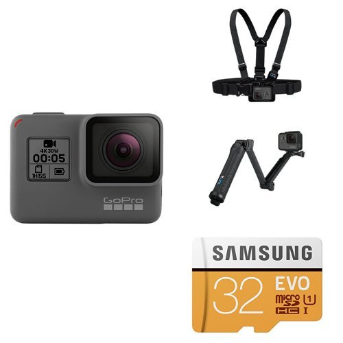 GoPro HERO5 Black w/ Chest Mount, 3-Way Grip and SD Card Action Cameras