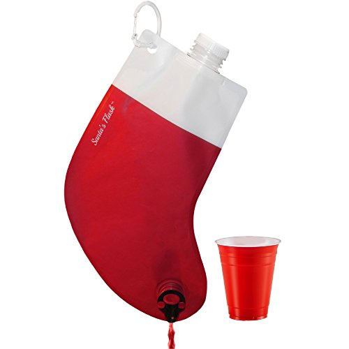 Party Flasks Santas Flask for Liquor, Wine, Drinks: Funny Gag Gifts for White Elephant Christmas Gifts Exchanges; Beverage Dispenser Holds 2.25 Liters for Holiday, Graduation, Office Parties