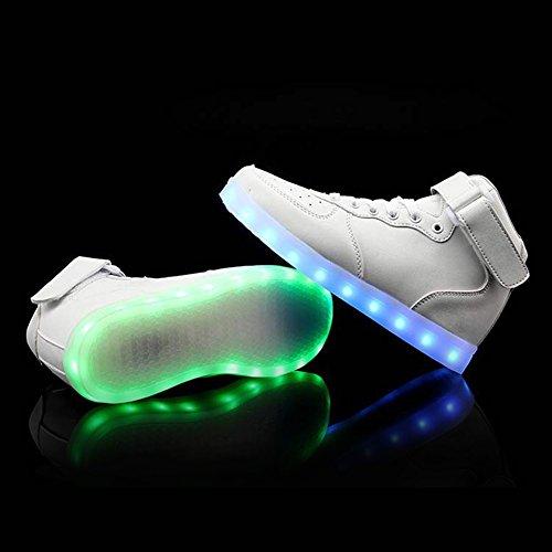 High Top Velcro LED Leuchten Schuhe 7 Farben USB blinkt Lade Walking Sneakers für Männer Frauen Stiefel mit Fernbedienung Weiß