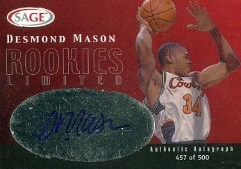 Mason Autographed Basketball - Desmond Mason autographed Basketball Card (Oklahoma St.) 2000 SAGE #R18 - Autographed College Cards