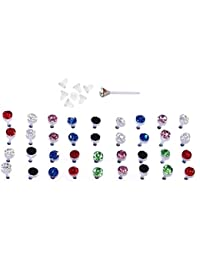 "Set of 36 or 72 1/8"" Crystal Stud Hypoallergenic Earrings; 18 or 36 Pairs on Plastic Posts"