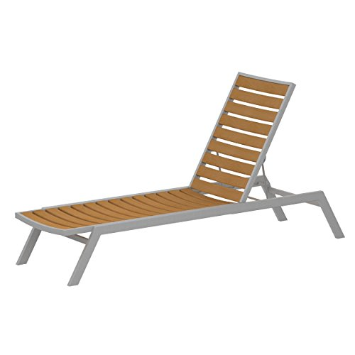 POLYWOOD AC1FASNT Euro Chaise, Textured Silver/Plastique