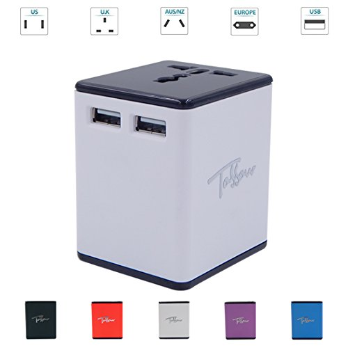 TOSSOW Universal Travel Adapter,All-In-One Worldwide Travel Adapter with Dual USB Ports 2.4A Global Power Converters for Smartphone,Tablets International AC Power Plug for US EU UK AU,White