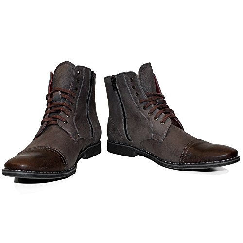 PeppeShoes Modello Muccato - 9 US - Handmade Italian Mens Brown Ankle Boots - Cowhide Smooth Leather - Lace-up (Italian Handmade Brown Leather Boots)