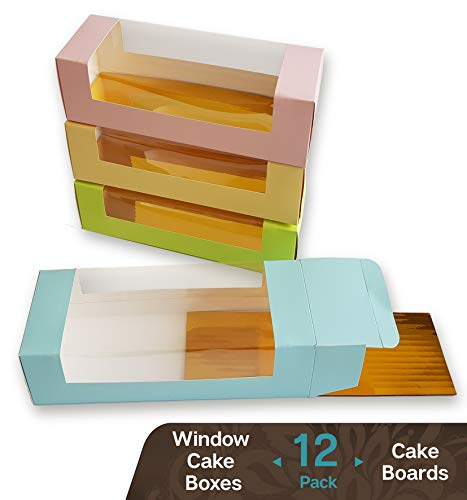 Cookeezz Couture - Window Cake Boxes 12 x 3.75 x 2.75 Inch Paperboard Boxes Auto Popup Great for Bakery, Cakes, Cupcake - Assorted 12 Pack Boxes in 4 Pastel Colors Also Included with 12 Cake Bases]()