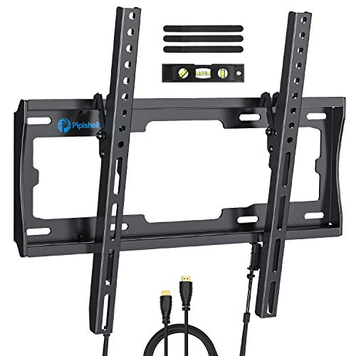 Tilt TV Wall Mount Bracket Low Profile for Most 26-55 Inch LED LCD OLED Plasma Flat Curved Screen TVs, 8 Degrees Tilting for Anti-Glaring, Max VESA 400x400mm and Holds up - Low Profile Wall Mount
