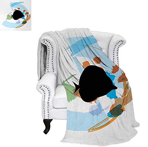 (Throw Blanket Silhouette of a Discus Cichlid in a Partly Illustrated Bowl Cartoon in Pastel Colors Warm Microfiber All Season Blanket for Bed or Couch 62