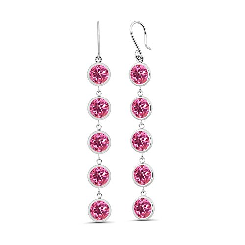 5.00 Ct Round Pink Mystic Topaz 925 Sterling Silver Earrings (Topaz Dangling Pink Earring)