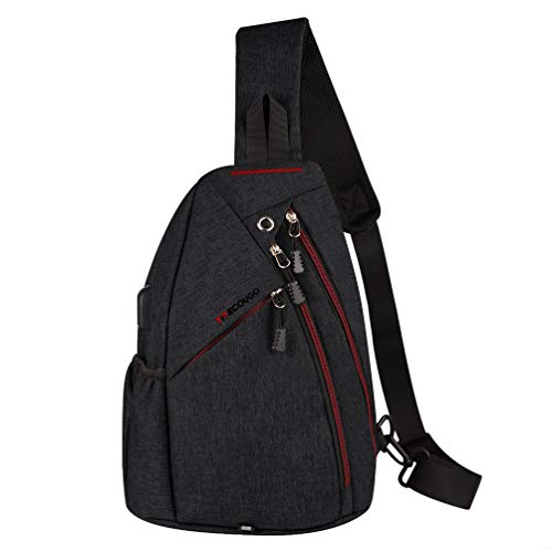 Black Sports Men Mens 1 Sling Backpack Breathable Lightweight Chest Bag Leather Tactical Shoulder Bags Packs Day Pack Daypack Cross Body Crossbody for Women Men Teens Waterproof Hiking Travel Bag USB