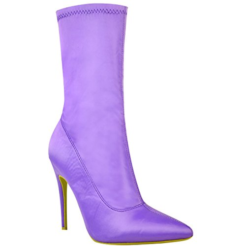 Shoes Ankle Stiletto Toe Boots Lycra Womens Heels Fashion Lilac High Satin Ladies Pointed Stretch Thirsty fx7wpU4