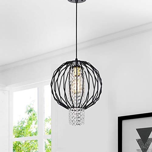 Orb Chandelier Black Modern Chandeliers Crystal Pendant Lighting 1 Light Ceiling Light Fixtures