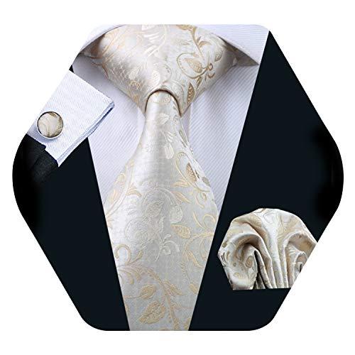 Mens Solid Tie Set Silk Beige Necktie Hankerchief Cufflinks Christmas Wedding